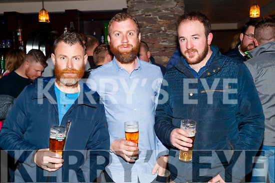Enjoying the Beard Festival in Causeway on Saturday night last, were l-r: John Gaynor, Joe Halloran and Pa Lucid.