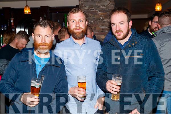 Enjoying the Beard Festival in Causeway on Saturday night last, were l-r: John Gaynor, Joe Halloran and Pa Lucid.
