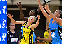 Te Paea Selby-Rickit takes the ball (right) as Jhaniele Fowler-Reid and Katrina Grant look on during the ANZ Premiership netball match between the Central Pulse and Northern Stars at Te Rauparaha Arena in Wellington, New Zealand on Wednesday, 24 May 2017. Photo: Dave Lintott / lintottphoto.co.nz