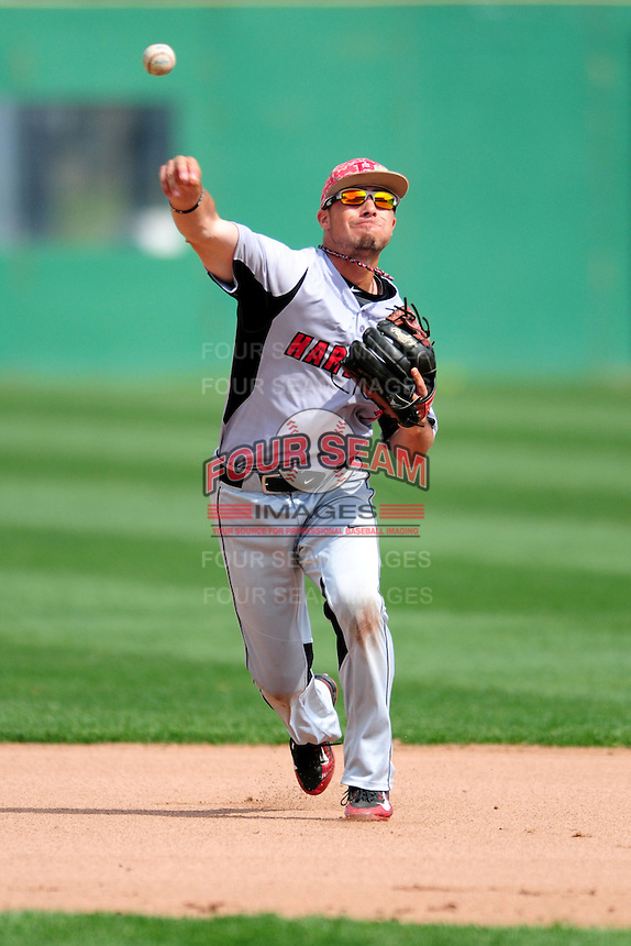 University of Hartford Hawks infielder Trey Stover (7) makes a throw to first base prior to a game versus the Boston College Eagles at Pellagrini Diamond at Shea Field on May 9, 2015 in Chestnut Hill, Massachusetts.  (Ken Babbitt/Four Seam Images)