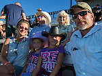 """The Bader familey during Purple Night at the Rodeo on Tuesday night, June 21, 2016.  """"Man Up Crusade Night"""" encouraged rodeo goers to wear purple for advocacy to stop domestic violence."""