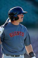 Ryan Cavan #9 of the San Jose Giants before a game against the Inland Empire 66'ers on April 18, 2013 at San Manuel Stadium in San Bernardino, California. (Larry Goren/Four Seam Images)