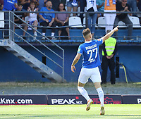 celebrate the goal, Torjubel zum 1:0 von Tim Skarke (SV Darmstadt 98) - 04.08.2019: SV Darmstadt 98 vs. Holstein Kiel, Stadion am Boellenfalltor, 2. Spieltag 2. Bundesliga<br /> DISCLAIMER: <br /> DFL regulations prohibit any use of photographs as image sequences and/or quasi-video.