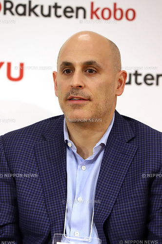 "January 26, 2018, Tokyo, Japan - US retail giant Walmart e-commerce chief executive officer Marc Lore speaks as Walmart and Japanese online commerce giant Rakuten announce a new strategic alliance on the e-commerce at the Rakuten headquarters in Tokyo on Friday, January 26, 2018. Rakuten and Walmart will launch a new online grocery delivery service ""Rakuten Seiyu Netsuper"" in Japan in this year. (Photo by Yoshio Tsunoda/AFLO) LWX -ytd-"