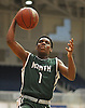 Taliq Abdul-Rahim #1 of Valley Stream North looks to drive to the net during the Nassau County varsity boys basketball Class A semifinals against Elmont at Hofstra University in Hempstead, NY on Wednesday, March 1, 2017. Elmont won by a score of 67-50.