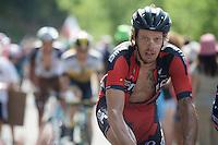 Daniel Oss (ITA/BMC) up the final Cote de la Croix Neuve (2C/1055m/3km/10.1%)<br /> <br /> stage 14: Rodez - Mende (178km)<br /> 2015 Tour de France