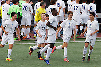 Mishawaka Marian players celebrate a goal from Jordan Morris, center, during the IHSAA Class A Boys Soccer State Championship Game against Providence on Saturday, Oct. 29, 2016, at Carroll Stadium in Indianapolis. Marian won 4-0. Special to the Tribune/JAMES BROSHER