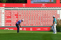 Paul Waring (ENG) and Louis Oosthuizen (RSA) on the 18th during the 3rd round of the WGC HSBC Champions, Sheshan Golf Club, Shanghai, China. 02/11/2019.<br /> Picture Fran Caffrey / Golffile.ie<br /> <br /> All photo usage must carry mandatory copyright credit (© Golffile | Fran Caffrey)