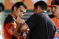 Jesse Gutierrez de naranjeros , durante el juego de beisbol de Naranjeros vs Cañeros durante la primera serie de la Liga Mexicana del Pacifico.<br /> 15 octubre 2013