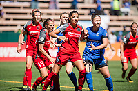 Seattle, WA - Saturday, August 26th, 2017: Nadia Nadim and Christine Nairn during a regular season National Women's Soccer League (NWSL) match between the Seattle Reign FC and the Portland Thorns FC at Memorial Stadium.