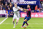 Gareth Bale of Real Madrid  (L) fights for the ball with Ivan Lopez Alvarez, Ivi, of Levante UD (R) during the La Liga 2017-18 match between Levante UD and Real Madrid at Estadio Ciutat de Valencia on 03 February 2018 in Valencia, Spain. Photo by Maria Jose Segovia Carmona / Power Sport Images