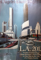 Utopia:  L. A. in 2013 from the L.A. Times  Magazine  4/3/88.  Futurist Syd Mead, set designer on Blade Runner.  Looking west on First from San Pedro.