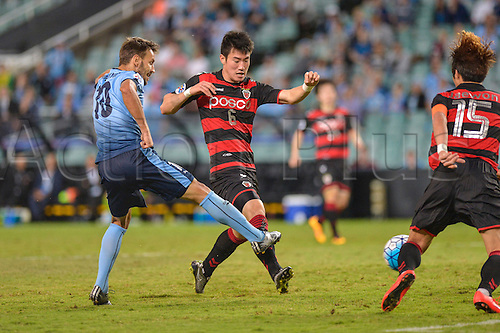 05.04.2016. Sydney Football Stadium,Sydney, Australia. AFC Champions League. Sydney midfielder Milos Ninkovic scores to make it 1-0. Sydney v Pohang Steelers.