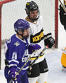 Jake Heisinger (Curry - 28), Ben Iwanowski (WIT - 20) - The Wentworth Institute of Technology Leopards defeated the visiting Curry College Colonels 1-0 on Saturday, November 23, 2013, at Walter Brown Arena in Boston, Massachusetts.