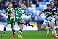 Shane Geraghty of London Irish puts boot to ball. Aviva Premiership match, between London Irish and Bath Rugby on November 7, 2015 at the Madejski Stadium in Reading, England. Photo by: Patrick Khachfe / Onside Images