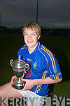 Capt of the under 161/2 Green School Football team DSean Walsh (jnr). With the Dunloe Cup in which they beat the Sem, St Brendans Killarney by 2-7 2-8........