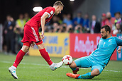 17th June 2017, St Petersburg, Russia; FIFA 2017 Confederations Cup football, Russia versus New Zealand; Group A - Saint Petersburg Stadium,  New Zealand goalie Stefan Marinovic (r) blocks a bshot from Russia's Aleksandr Burharov during the Confederations Cup Group A soccer match between Russia and New Zealand at the stadium in Saint Petersburg, Russia, 17 June 2017.