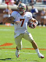 Oct 2, 2010; Charlottesville, VA, USA; Florida State Seminoles quarterback Christian Ponder (7) runs the ball during the first half of the game against the Virginia Cavaliers at Scott Stadium. Photo/The Daily Progress/Andrew Shurtleff