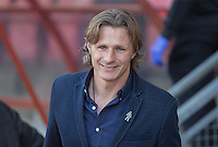 Smiles from Wycombe Wanderers Manager Gareth Ainsworth during the Sky Bet League 2 match between Leyton Orient and Wycombe Wanderers at the Matchroom Stadium, London, England on 19 September 2015. Photo by Andy Rowland.