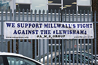 The Association of Millwall Supporters make a statement with a protest banner on the fencing surrounding the car park at Millwall FC with the words 'We support Millwall's Fight against the Lewisham4' during Millwall vs Preston North End, Sky Bet EFL Championship Football at The Den on 13th January 2018