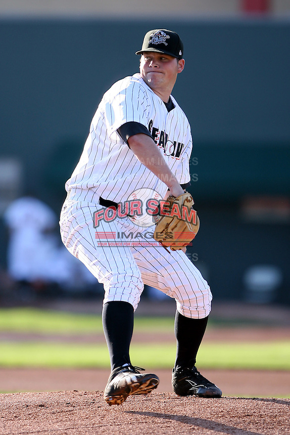 June 10th 2008:  Danny Christensen (49) of the Erie Seawolves, Class-AA affiliate of the Detroit Tigers, delivers a pitcher during a game at Jerry Uht Park in Erie, PA.  Photo by:  Mike Janes/Four Seam Images