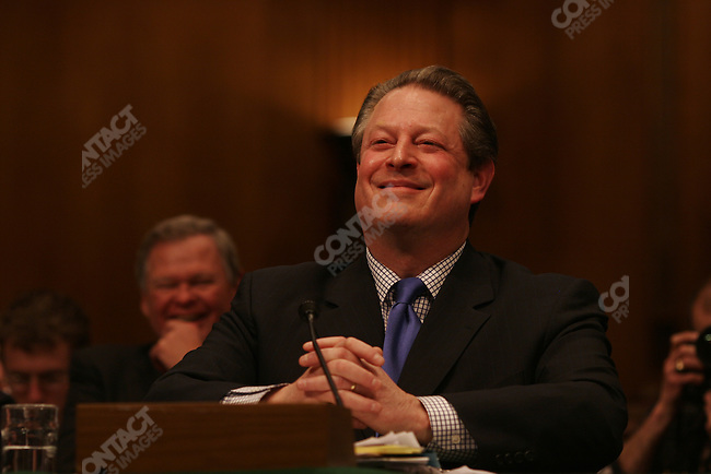 Former Vice President Al Gore testifies about climate change before House and Senate committees. Washington D.C., March 21, 2007