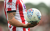 A close up of the EFL Sky Bet League Two badge on the sleeve of the shirt worn by Lincoln City's Ollie Palmer<br /> <br /> Photographer Chris Vaughan/CameraSport<br /> <br /> The EFL Sky Bet League Two - Lincoln City v Morecambe - Saturday August 12th 2017 - Sincil Bank - Lincoln<br /> <br /> World Copyright &copy; 2017 CameraSport. All rights reserved. 43 Linden Ave. Countesthorpe. Leicester. England. LE8 5PG - Tel: +44 (0) 116 277 4147 - admin@camerasport.com - www.camerasport.com