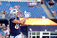 August 9, 2018: New England Patriots tight end Rob Gronkowski (87) warms up prior to the NFL pre-season football game between the Washington Redskins and the New England Patriots at Gillette Stadium, in Foxborough, Massachusetts.The Patriots defeat the Redskins 26-17. Eric Canha/CSM