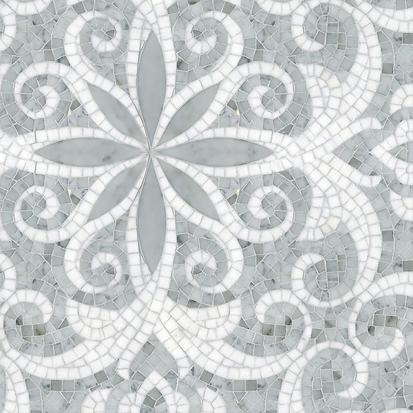 Arabella, a handmade mosaic shown in polished hand-cut and waterjet Carrara and Thassos, is part of the Silk Road Collection by Sara Baldwin for New Ravenna.