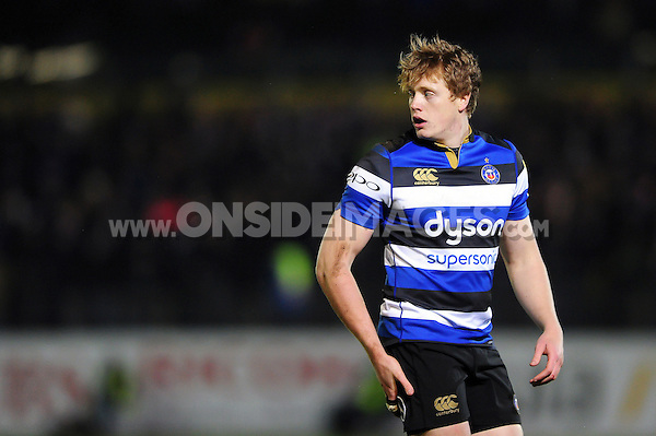 Harry Davies of Bath Rugby looks on during a break in play. Aviva Premiership match, between Bath Rugby and Northampton Saints on February 10, 2017 at the Recreation Ground in Bath, England. Photo by: Patrick Khachfe / Onside Images