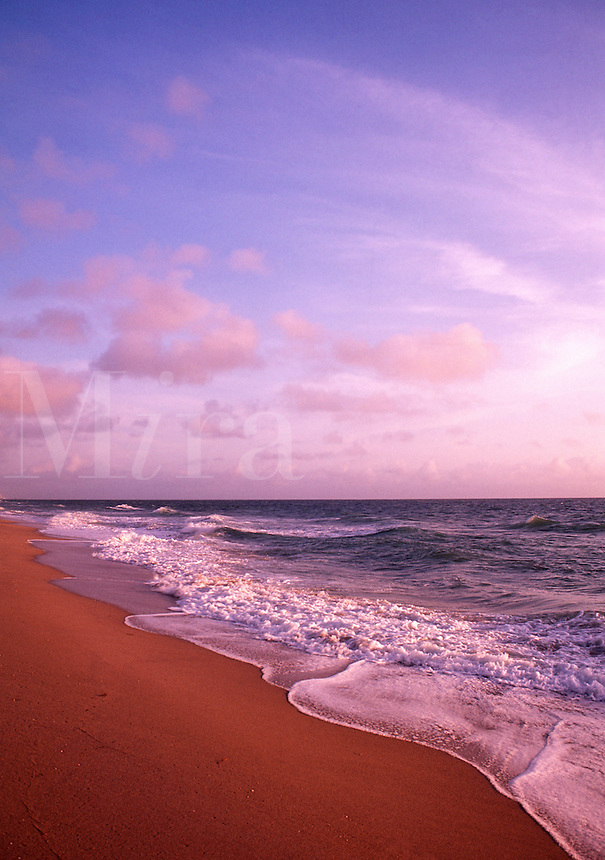 Perfect beach scene at sunset