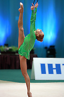 "Natalya Godunko of Ukraine balances with clubs at 2008 World Cup Kiev, ""Deriugina Cup"" in Kiev, Ukraine on March 23, 2008."