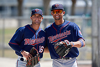 Minnesota Twins Dane Hutcheon (16) and Royce Lewis (8) before a Minor League Spring Training game against the Tampa Bay Rays on March 17, 2018 at CenturyLink Sports Complex in Fort Myers, Florida.  (Mike Janes/Four Seam Images)