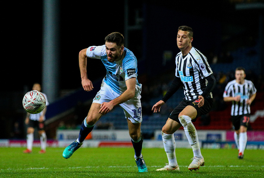 Blackburn Rovers' Ben Brereton battles with Newcastle United's Javi Manquillo<br /> <br /> Photographer Alex Dodd/CameraSport<br /> <br /> Emirates FA Cup Third Round Replay - Blackburn Rovers v Newcastle United - Tuesday 15th January 2019 - Ewood Park - Blackburn<br />  <br /> World Copyright © 2019 CameraSport. All rights reserved. 43 Linden Ave. Countesthorpe. Leicester. England. LE8 5PG - Tel: +44 (0) 116 277 4147 - admin@camerasport.com - www.camerasport.com
