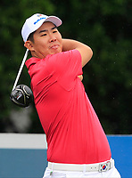 Byeonghun An (Asia) on the 9th tee during the Friday Foursomes of the Eurasia Cup at Glenmarie Golf and Country Club on the 12th January 2018.<br /> Picture:  Thos Caffrey / www.golffile.ie