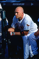 SEATTLE, WA - Cal Ripken Jr. of the Baltimore Orioles watches from the dugout during the 2001 All Star Game at Safeco Field in Seattle, Washington in 2001. Photo by Brad Mangin
