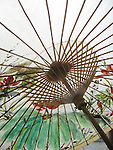 Meinong, Taiwan -- Bamboo ribs, stretchers and runner on a Chinese oil paper umbrella.