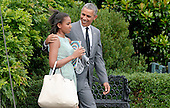 United States President Barack Obama with daughter Sasha leaves the residence to board Marine One at the White House July 17, 2015 in Washington, DC. <br /> Credit: Olivier Douliery / Pool via CNP