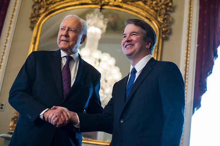 UNITED STATES - JULY 11: Supreme Court nominee Brett Kavanaugh, right, and Sen. Orrin Hatch, R-Utah, conduct a photo-op in the Capitol on July 11, 2018. (Photo By Tom Williams/CQ Roll Call)