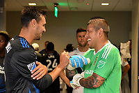 San Jose, CA - Saturday June 24, 2017: Chris Wondolowski, Nick Rimando during a Major League Soccer (MLS) match between the San Jose Earthquakes and Real Salt Lake at Avaya Stadium.
