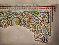Roman mosaics - Geometric Mosaic. The House of Oceanos. Ancient Zeugama, 2nd - 3rd century AD . Zeugma Mosaic Museum, Gaziantep, Turkey.   Against an art background.