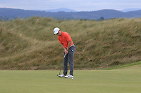 Conor Purcell (Portmarnock) on the 11th green during Round 2 of Match Play in the AIG Irish Close Championship at the European Club, Brits Bay, Wicklow, Ireland on Monday 6th August 2018.<br /> Picture: Thos Caffrey / Golffile