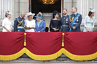 Sophie Countess of Wessex, Prince Charles, Prince Andrew, Camilla Duchess of Cornwall, HM The Queen Elizabeth II, Meghan Duchess of Sussex, Prince William, Prince Harry, Catherine Duchess of Cambridge<br /> The Royal Family watch RAF centenary fly-past at Buckingham Palace, The Mall, London, England on July 10, 2018.<br /> CAP/GOL<br /> &copy;GOL/Capital Pictures