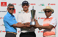 Matt Wallace (ENG) winner of the Hero Indian Open with David Williams (Chairman European Tour) and Pawam Munjal (Chairman Hero Motocorp) at the DLF Golf and Country Club on Sunday 11th March 2018.<br /> Picture:  Thos Caffrey / www.golffile.ie<br /> <br /> All photo usage must carry mandatory copyright credit (&copy; Golffile | Thos Caffrey)