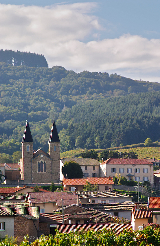 The village with church. Morgon, Beaujolais, France