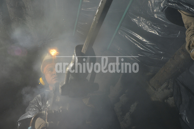 Drilling in a gold mine in Marmato, Caldas, Colombia
