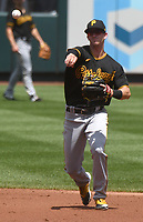 25th July 2020, St Louis, MO, USA;  Pittsburgh Pirates infielder Kevin Newman (27) throws to first for an out during a Major League Baseball game between the Pittsburgh Pirates and the St. Louis Cardinals