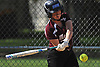 Kara Castaldo #20, Mepham third baseman, hits a two-out, two-run double to give the Pirates a 3-0 lead over Island Trees in the bottom of the first inning of a Nassau County Class A first round playoff game at Mepham High School on Friday, May 11, 2018. Mepham won 12-0 in five innings.