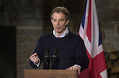"""Thurmont, MD - February 23, 2001 --  Prime Minister Tony Blair of Great Britain holds a joint press conference with United States President George W. Bush after their """"get acquainted"""" talks at Camp David, near Thurmont, Maryland on February 23, 2001.  .Credit: Ron Sachs / CNP"""