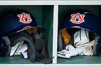 Auburn Tigers batting helmets and batting gloves at Riverwalk Park on March 15, 2011 in Montgomery, Alabama.  Photo by Brian Westerholt / Four Seam Images